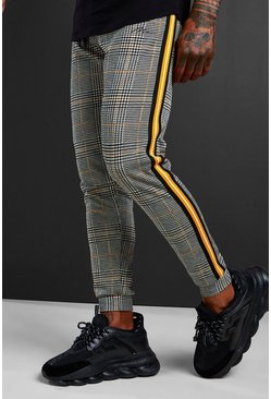 Mens Mustard MAN Signature Jacquard Cuffed Jogger With Tape