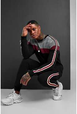 Black Colour Block Jacquard Sweater Tracksuit With Tape
