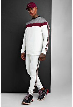 Mens White Colour Block Jacquard Sweater Tracksuit With Tape