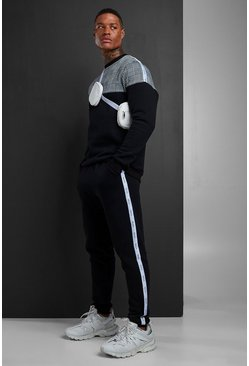 Mens Black Colour Block Jacquard Sweater MAN Tape Tracksuit