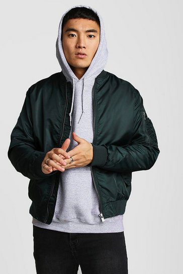 Teal Bomber Jacket With MA1 Pocket