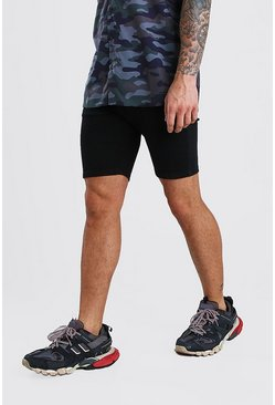 Stretch Skinny Denim Short, Black