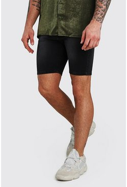 Stretch Skinny Denim Short, Charcoal