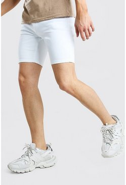 Stretch Skinny Denim Short, White