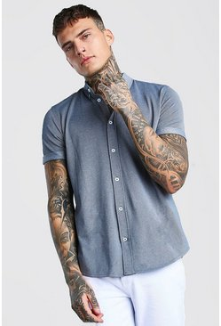 Short  Sleeve Regular Collar Pique Shirt, Blue