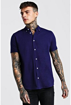 Short  Sleeve Regular Collar Pique Shirt, Navy