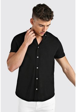 Short  Sleeve Regular Collar Pique Shirt, Black