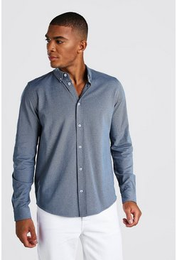 Long Sleeve Regular Collar Pique Shirt With Cuff, Blue