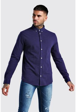 Long Sleeve Regular Collar Pique Shirt With Cuff, Navy