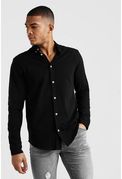 Long Sleeve Regular Collar Pique Shirt With Cuff, Black