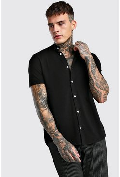 Short Sleeve Grandad Pique Shirt, Black