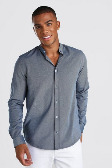 Blue Long Sleeve Grandad Pique Shirt With Cuff