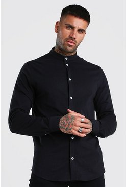Long Sleeve Grandad Pique Shirt With Cuff, Black