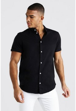 Short Sleeve Grandad Jersey Shirt, Black