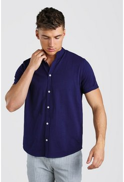 Short Sleeve Grandad Jersey Shirt, Navy