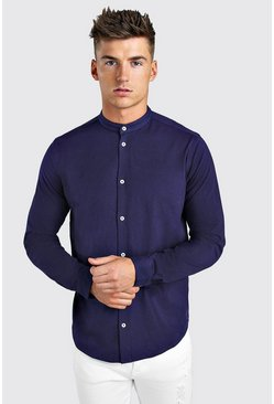 Long Sleeve Grandad Jersey Shirt With Cuff, Navy