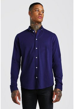 Long Sleeve Regular Collar Jersey Shirt With Cuff, Navy