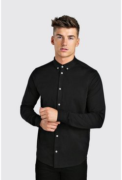 Long Sleeve Regular Collar Jersey Shirt With Cuff, Black