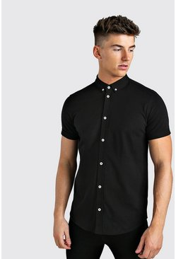 Short Sleeve Regular Collar Jersey Shirt, Black