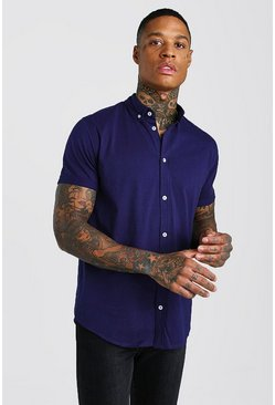 Short Sleeve Regular Collar Jersey Shirt, Navy