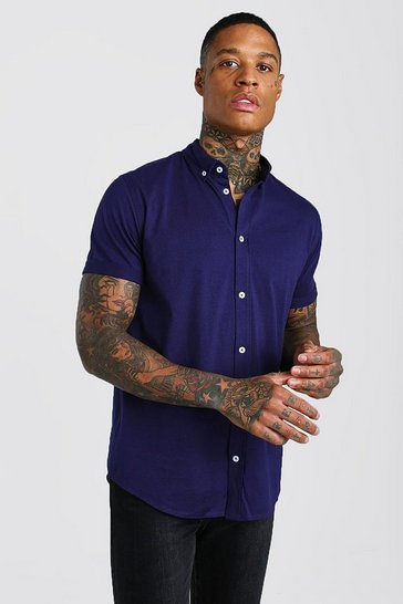 Navy Short Sleeve Regular Collar Jersey Shirt