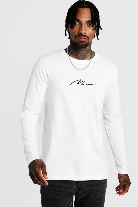 White Long Sleeve MAN Signature T-Shirt