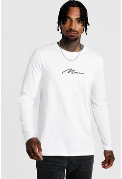 Long Sleeve MAN Signature T-Shirt, White
