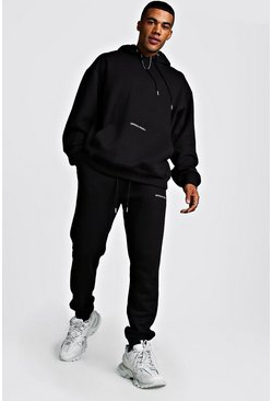 Official MAN Back Print Loose Fit Hooded Tracksuit, Black, Uomo
