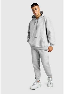 Official MAN Back Print Loose Fit Hooded Tracksuit, Grey marl, HOMMES