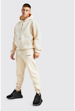 Official MAN Back Print Loose Fit Hooded Tracksuit, Ecru, HOMMES