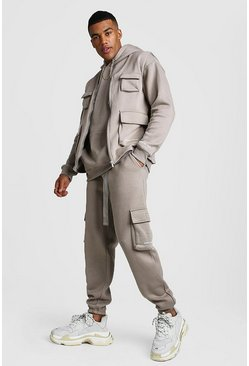 Official MAN 3 Piece Utility Set With Buckles, Taupe, Uomo