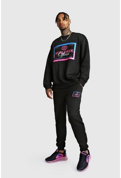MAN Print Loose Fit Sweater Tracksuit, Black, Uomo