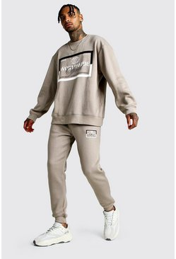 MAN Print Loose Fit Sweater Tracksuit, Taupe, Uomo