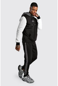 Grey Original MAN Multi Colour Block Hooded Tracksuit