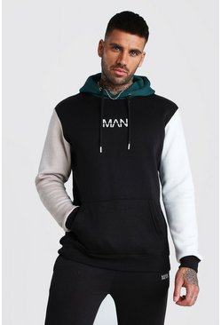 Original MAN Multi Colour Block Hooded Tracksuit, Black, HERREN