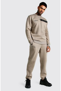 Mens Taupe MAN Official Utility Sweater Tracksuit