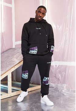 Black MAN Printed Hooded Tracksuit