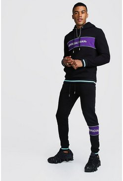 Official MAN Contrast Panel Hooded Rib Tracksuit, Black, HOMMES