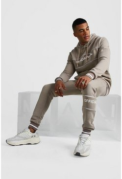Official MAN Contrast Panel Hooded Rib Tracksuit, Taupe, Uomo