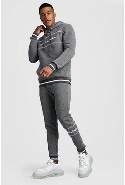 Official MAN Contrast Panel Hooded Rib Tracksuit, Charcoal, Uomo