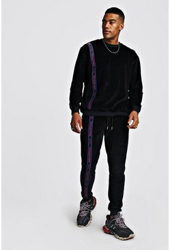 Velour Sweater Tracksuit With MAN Tape, Black, Uomo