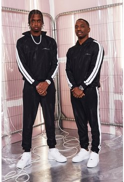 Herr Black MAN Signature High Shine Hooded Tape Tracksuit