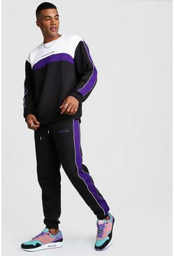 Mens Black Official MAN Colour Block Loose Fit Sweater Tracksuit