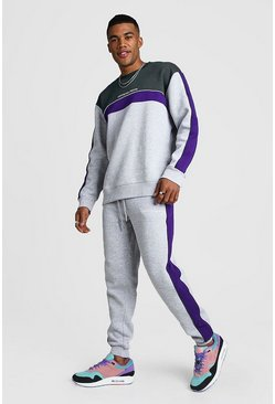 Mens Grey Official MAN Colour Block Loose Fit Sweater Tracksuit