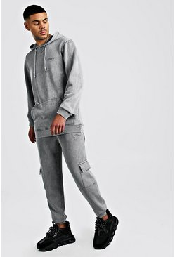 MAN Signature Acid Wash Cargo Hooded Tracksuit, Grey