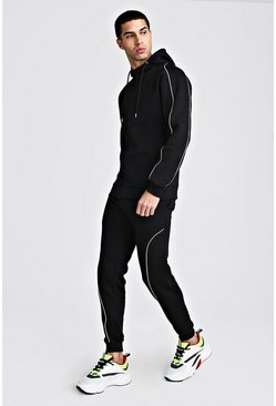 Herr Black MAN Signature Hooded Reflective Piping Tracksuit