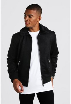 Faux Suede Jacket with Faux Fur Collar, Black