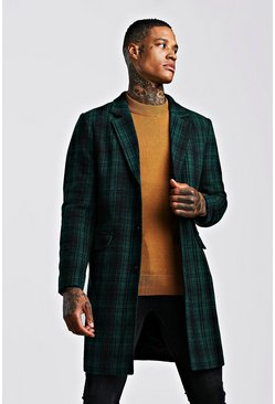 Mens Green Check Wool Look Overcoat