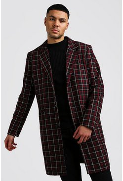 Mens Burgundy Check Wool Look Overcoat