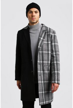 Mens Grey Spliced Check Wool Look Overcoat